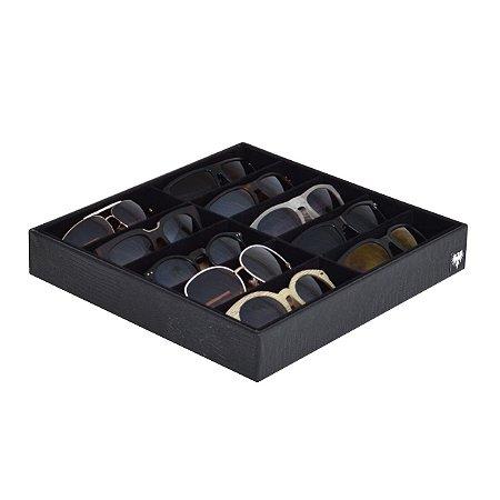 Bandeja Porta Óculos 10 Nichos Couro Ecológico | Preto Preto
