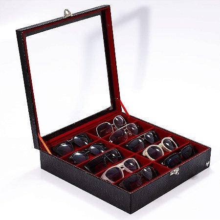 Estojo Porta Óculos 10 Nichos Couro Ecológico | Preto Vermelho