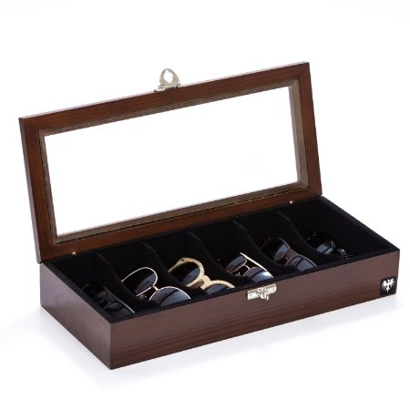 Estojo Porta Óculos 6 Nichos Madeira Maciça | Tabaco Preto