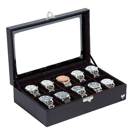Estojo Porta Relógio 10 Nichos Couro Premium | Preto Preto
