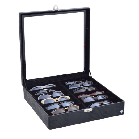 Estojo Porta Óculos 12 Nichos Couro Ecológico | Preto Preto
