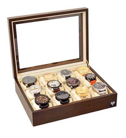 Estojo Porta Relógio 12 Nichos Nobre Madeira | Tabaco Bege