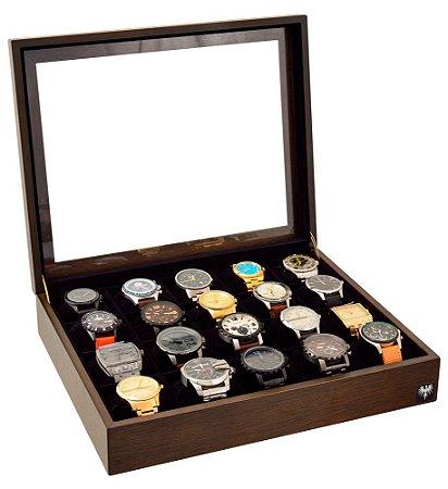 Estojo Porta Relógio 20 Nichos Nobre Madeira   Tabaco Preto