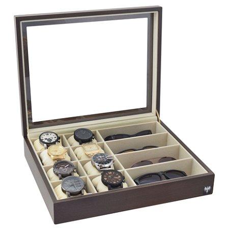 Estojo Porta 8 Relógios e 4 Óculos Nobre Madeira | Tabaco Bege