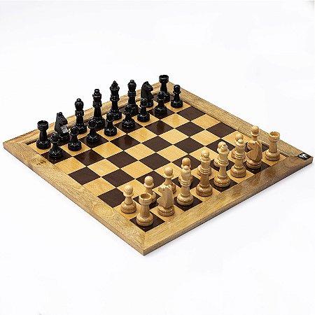 Jogo de Xadrez Tabuleiro em Madeira Casas 5x5 + Peças Rei 10cm