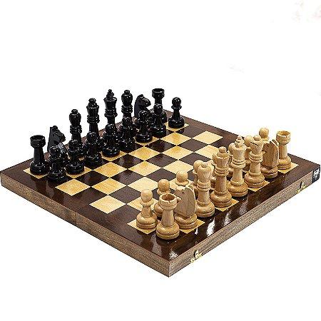 Jogo Xadrez Tabuleiro Dobrável Madeira Maciça Casas 4x4 Peças Rei 10cm