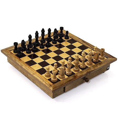 Jogo de Xadrez Tabuleiro com Gaveta Madeira Casas 5x5 + Peças Rei 10cm