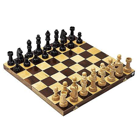 Jogo de Xadrez Tabuleiro Dobrável Madeira Casas 5x5 + Peças Rei 10cm