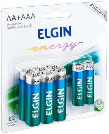 PILHA ELGIN ALCALINA 6AA + 2AAA