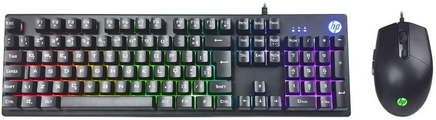 KIT TECLADO E MOUSE USB GAMING HP KM300F PRETO
