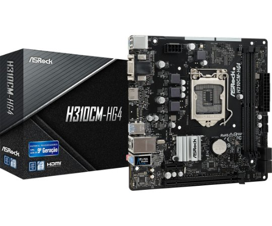 PLACA-MÃE ASROCK H310CM-HG4 S/V/R 1151 DDR4 8ª E 9ª GERAÇÃO