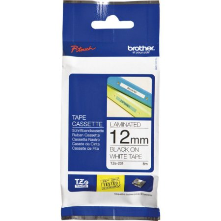 FITA PARA ROTULADOR 12MM PRETO BRANCO BROTHER TZE-231