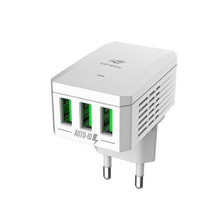 CARREGADOR UNIVERSAL USB 3.4A 5V C3TECH UC-310WH 3 USB