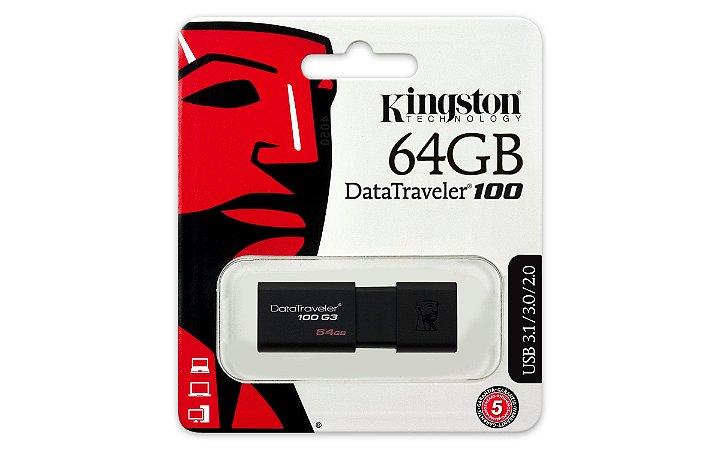 PEN DRIVE DT100G3/64GB KINGSTON DATATRAVELER 3.0 PRETO