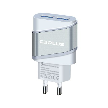 CARREGADOR UNIVERSAL USB 2A 5V C3PLUS UC-20SWHX 2 USB