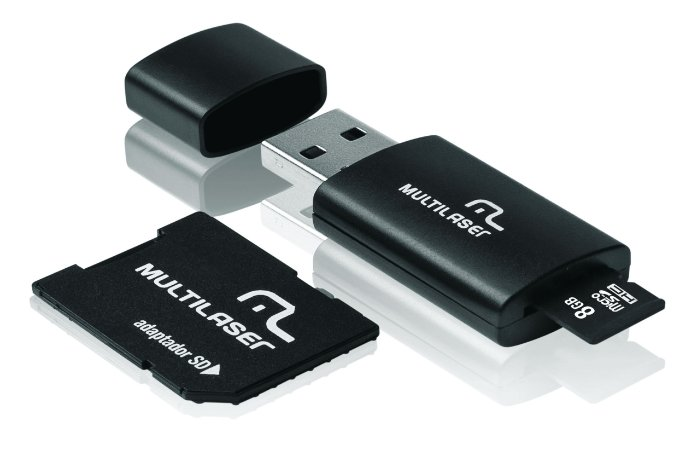 PEN DRIVE 8GB MULTILASER COM CARTÃO SD/MICRO SD MC058 PRETO