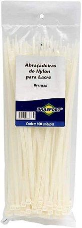 ABRAÇADEIRA NYLON 4.8X300MM  BRASFORT COM 100 BRANCA