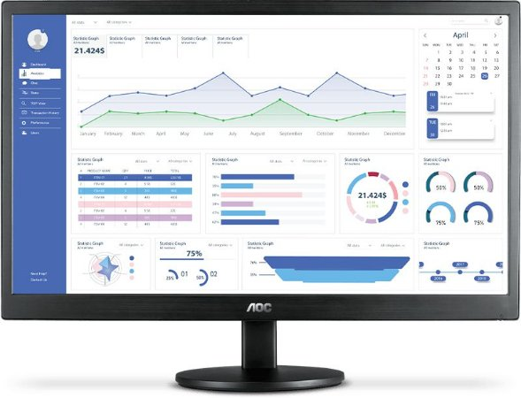 "MONITOR AOC LED 18.5"" ANTI REFLEXO (VGA/HDMI) - E970SWHNL"