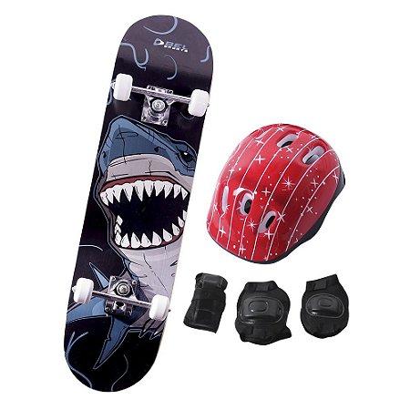 Skate Infantil Kit Iniciante Completo com Proteção Street - Tubarão