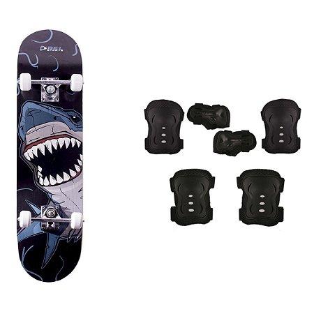 Skate Infantil Kit Iniciante com Proteção Street - Tubarão