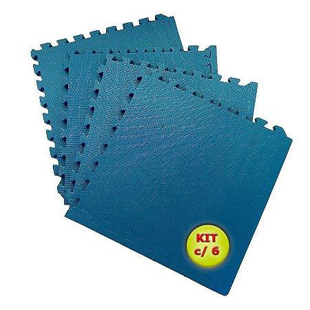 Tatame EVA 1x1 Metro 10mm - Kit Com 6 un Azul Dinamarca