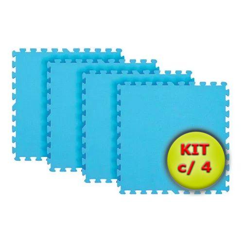 Tatame EVA 1x1 Metro 10mm - Kit Com 4 un Azul Bebê