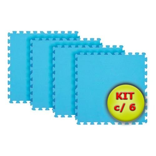 Tatame EVA 1x1 Metro 10mm - Kit Com 6 un Azul Bebê