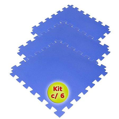 Tatame EVA 50x50 cm 10mm Kit com 6un Azul Royal