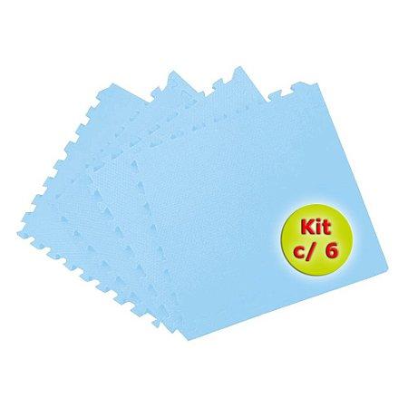 Tatame EVA 50x50 cm 10mm Kit com 6un Azul Bebê