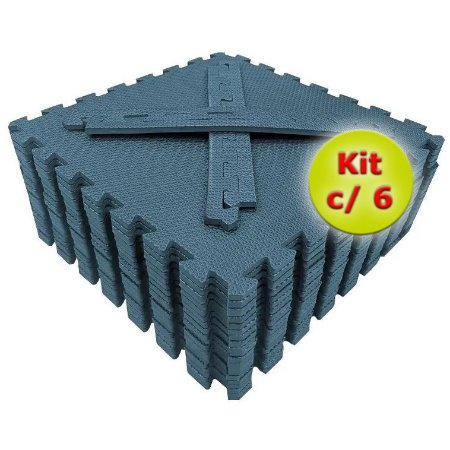 Tatame EVA 50x50 cm 10mm Kit com 6un Azul Dinamarca