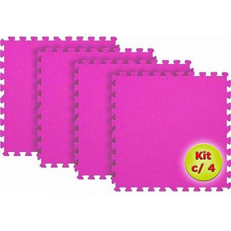 Tatame EVA 1x1 Metro 10mm - Kit Com 4 un Rosa