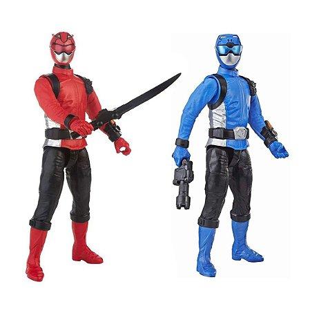 Kit Boneco Power Rangers Vermelho E Azul Beast Morphers