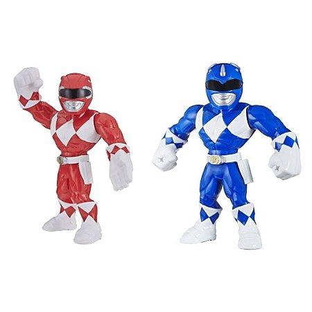 Kit Boneco Power Rangers Vermelho Azul Mega Mighties