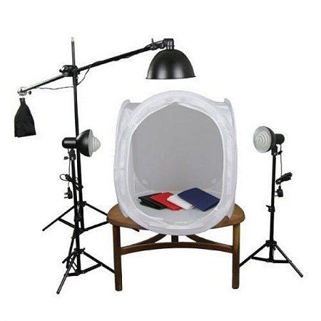 Kit Mini Estúdio Fotográfico Tenda 80cm Tripé - Girafa - Lâmpada 45w 110v - Pk-ST10