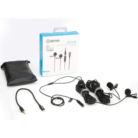 Microfone de Lapela Duplo Boya BY-M2D para Celular IOS