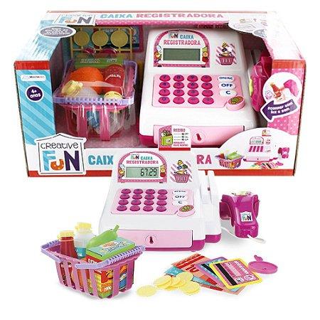 Caixa Registradora Infantil com Mercadinho Rosa