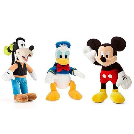 Mickey Pateta e Pato Donald de Boneco de Pelúcia Disney 33cm com Som