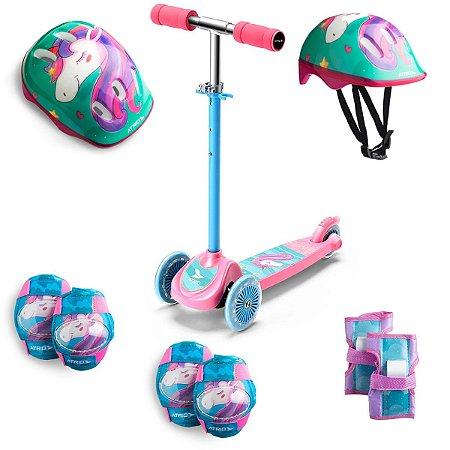 Patinete 3 Rodas com Kit Proteção Infantil Unicórnio Rosa
