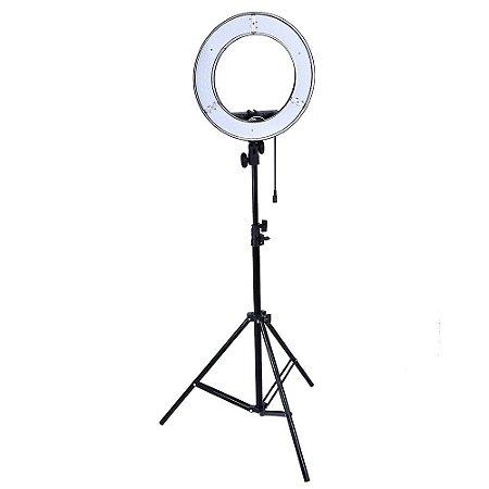 Kit Iluminador LED Ring Light RL-12 Circular Foto Make Greika com Tripé