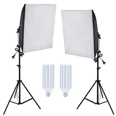 Kit Iluminação Estúdio Fotográfico LED 120w Softbox 50x70cm