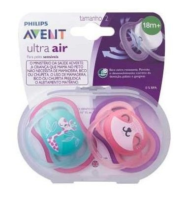 Chupeta Ultra Air 18+ Girafinha e Preguicinha - Avent