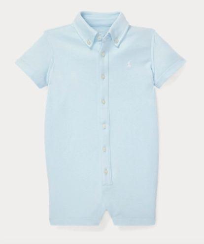 Macacão romper algodão Ralph Lauren - Azul Bebe