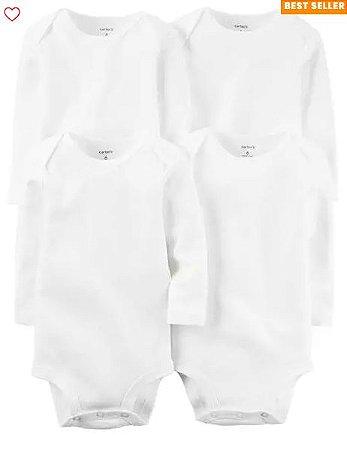 Kit de body manga longa Carters branco