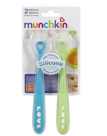 Colheres de Silicone Verde e Azul  Munchkin