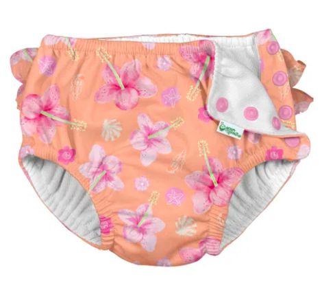 Fraldinha calcinha de banho Iplay Hibiscos Rosa
