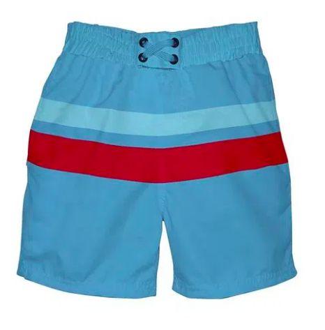 Bermuda Iplay com fralda embutida Azul com Vermelho 6-12 meses