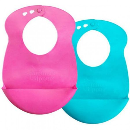 Kit Babadores de Silicone Rosa e Azul - Tommee Tippee