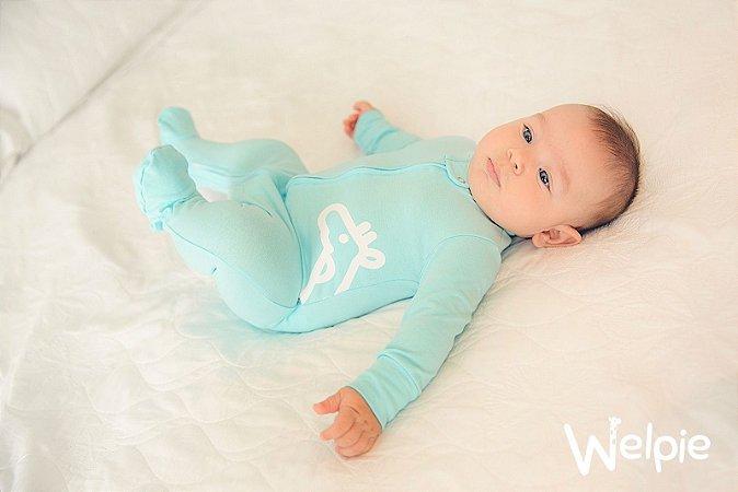 Macacão algodão com pezinho e bolso Azul Piscina - Welpie