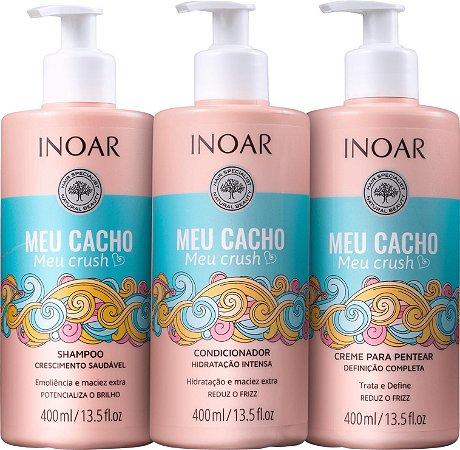 Kit Inoar Meu Cacho Meu Crush - Shampoo, Condicionador e Creme de Pentear