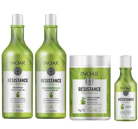 Kit Inoar Résistance Fibra de Bambu - Shampoo e Condicionador, Máscara e Leave-in